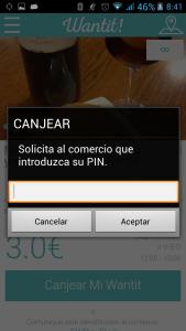 """Vista solicitud de Pin en sección """"Mis Wantits/Oferta Seleccionada"""""""